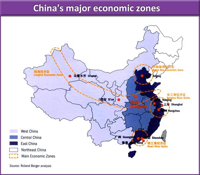 CHINA. PRINCIPALES ÁREAS INDUSTRIALES.